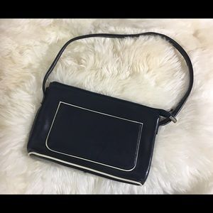 Ver Pelle purse blue with white piping